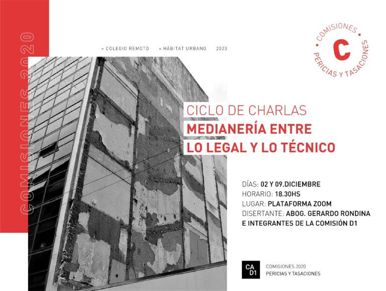 CICLO DE CHARLAS: Medianería entre lo legal y lo técnico