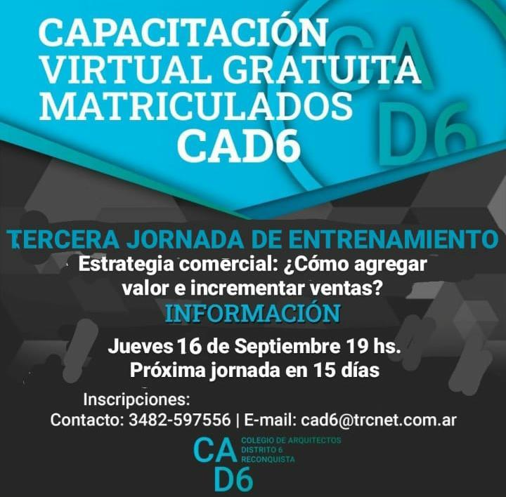 Capacitación virtual gratuita para matriculados del CAD6